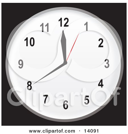 Simple Black And White Wall Clock Showing 20 Minutes Until Noon Or Midnight Clipart Illustration by Rasmussen Images