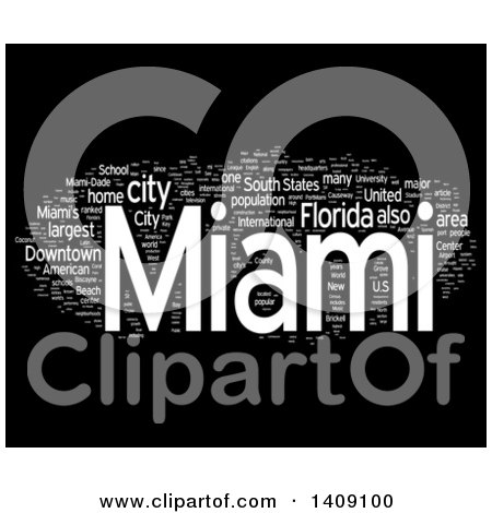Clipart of a White Miami Word Collage on Black - Royalty Free Illustration by MacX