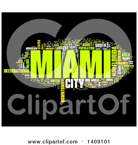 Clipart of a Miami Word Collage on Black - Royalty Free Illustration by MacX