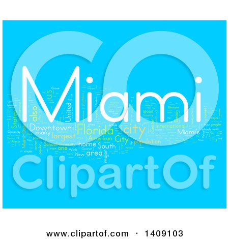 Clipart of a Miami Word Collage on Blue - Royalty Free Illustration by MacX