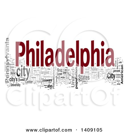 Clipart of a Philadelphia Word Collage on White - Royalty Free Illustration by MacX