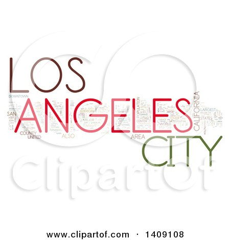 Clipart of a Los Angeles Word Collage on White - Royalty Free Illustration by MacX