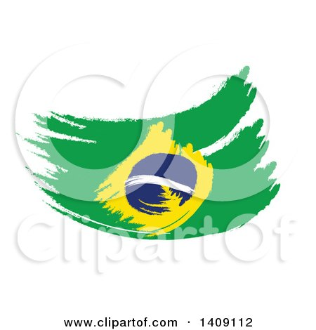 Clipart of a Painted Brazilian Flag on White - Royalty Free Illustration by MacX