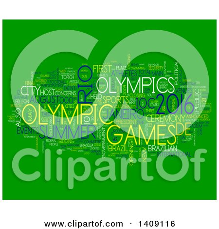 Clipart of a Brazil Olympic Games Word Collage on Green - Royalty Free Illustration by MacX