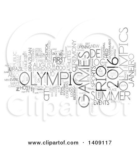 Clipart of a Brazil Olympic Games Word Collage on White - Royalty Free Illustration by MacX