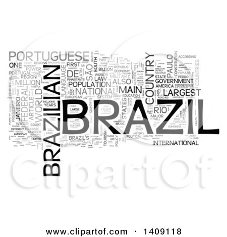 Clipart of a Brazil Word Collage on White - Royalty Free Illustration by MacX