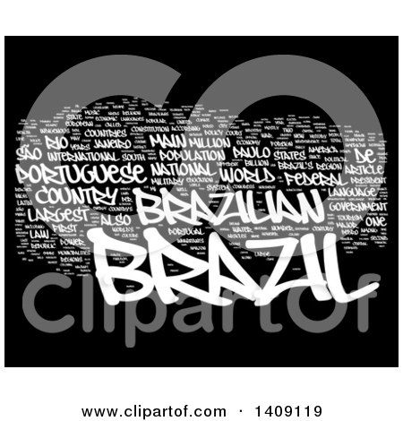 Clipart of a White Brazil Word Collage on Black - Royalty Free Illustration by MacX