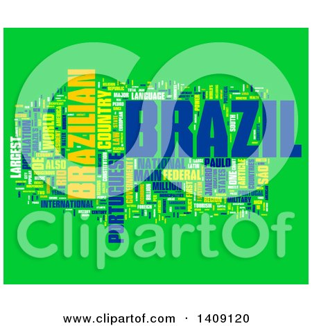Clipart of a Brazil Word Collage on Green - Royalty Free Illustration by MacX