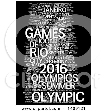 Clipart of a White Brazil Olympic Games Word Collage on Black - Royalty Free Illustration by MacX