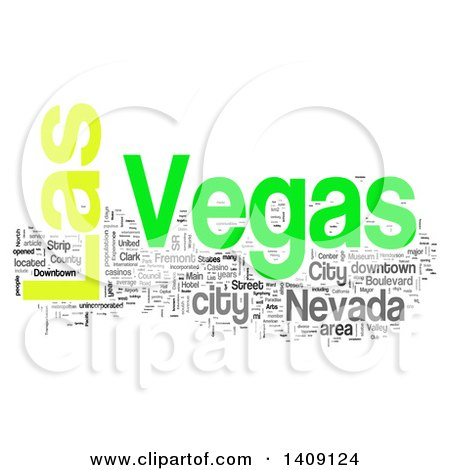 Clipart of a Las Vegas Word Collage on White - Royalty Free Illustration by MacX