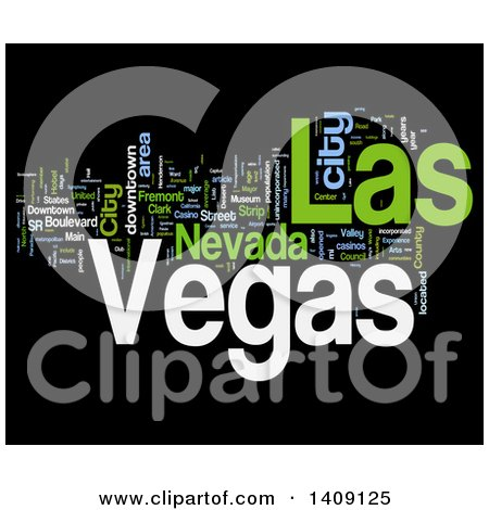 Clipart of a Las Vegas Word Collage on Black - Royalty Free Illustration by MacX