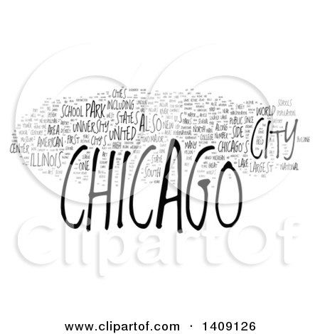 Clipart of a Chicago Word Collage on White - Royalty Free Illustration by MacX