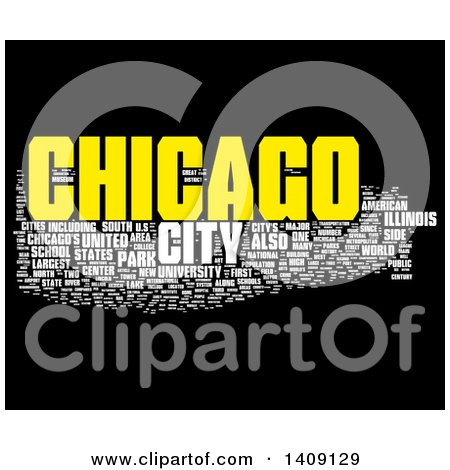 Clipart of a Chicago Word Collage on Black - Royalty Free Illustration by MacX