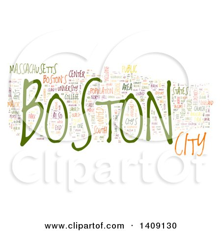 Clipart of a Boston Word Collage on White - Royalty Free Illustration by MacX