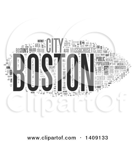 Clipart of a Grayscale Boston Word Collage on White - Royalty Free Illustration by MacX