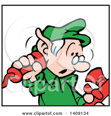 Clipart of a Santas Helper Christmas Elf Answering a Telephone - Royalty Free Vector Illustration by Johnny Sajem