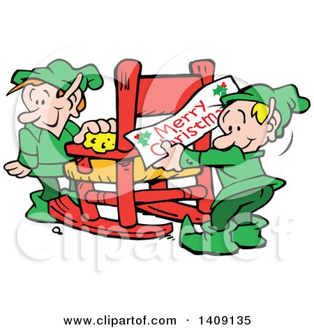 Clipart of Santas Helper Christmas Elves Decorating and Cleaning a Workshop Chair - Royalty Free Vector Illustration by Johnny Sajem