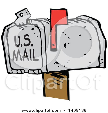 Clipart of a Cartoon Mailbox with the Flag Up, You've Got Mail - Royalty Free Vector Illustration by Johnny Sajem