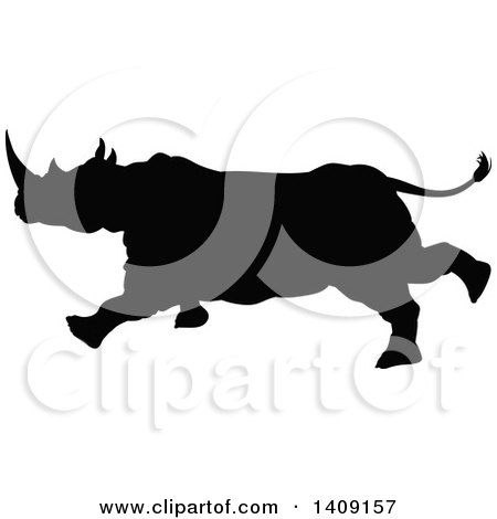 Clipart of a Black Silhouetted Rhinoceros Charging - Royalty Free Vector Illustration by AtStockIllustration