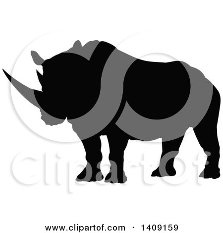 Clipart of a Black Silhouetted Rhinoceros - Royalty Free Vector Illustration by AtStockIllustration