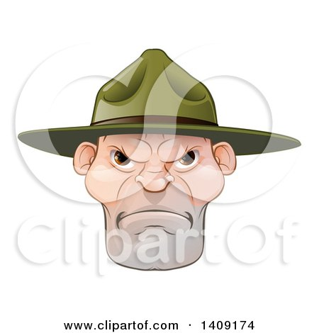 Clipart of a Mad Caucasian Male Army Boot Camp Drill Sergeant Face - Royalty Free Vector Illustration by AtStockIllustration
