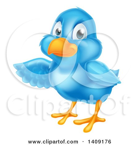 Clipart of a Happy Blue Bird Presenting or Pointing to the Left - Royalty Free Vector Illustration by AtStockIllustration