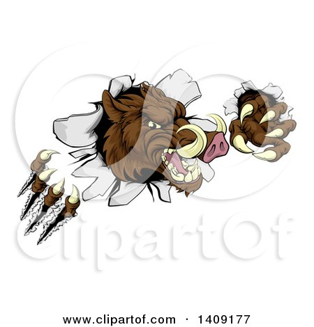 Clipart of a Brown Boar Monster Slashing Through a Wall - Royalty Free Vector Illustration by AtStockIllustration