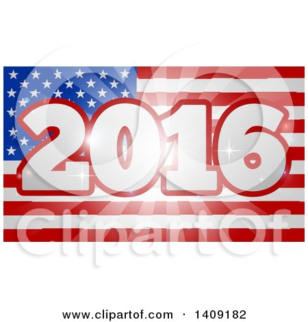 Clipart of a 2016 Burst over an American Flag and Fireworks - Royalty Free Vector Illustration by AtStockIllustration