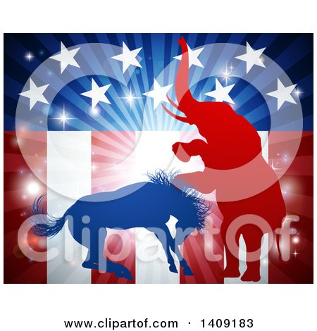 Clipart of a Silhouetted Political Aggressive Democratic Donkey or Horse and Republican Elephant Battling over an American Flag and Burst - Royalty Free Vector Illustration by AtStockIllustration