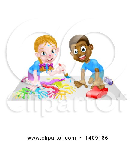 Cartoon Happy White Girl Kneeling and Painting Artwork and Black Boy Playing with a Car Posters, Art Prints
