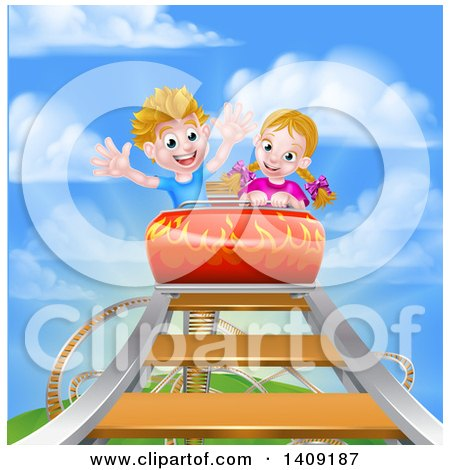 Clipart of a Happy White Boy and Girl at the Top of a Roller Coaster Ride, Against a Blue Sky with Clouds - Royalty Free Vector Illustration by AtStockIllustration