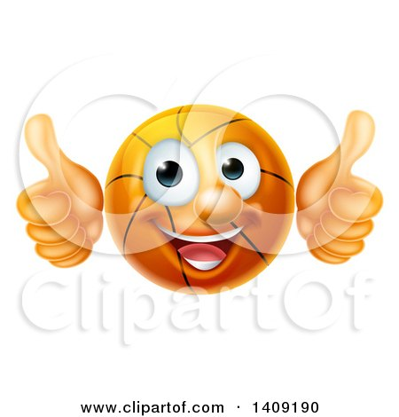 Clipart of a Cartoon Happy Basketball Character Giving Two Thumbs up - Royalty Free Vector Illustration by AtStockIllustration