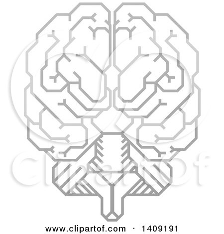 Clipart of a Grayscale Gradient Human Brain with Electrical Circuits - Royalty Free Vector Illustration by AtStockIllustration