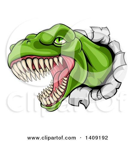Clipart of a Cartoon Roaring Angry Green Tyrannosaurus Rex Dino Head Breaking Through a Wall - Royalty Free Vector Illustration by AtStockIllustration