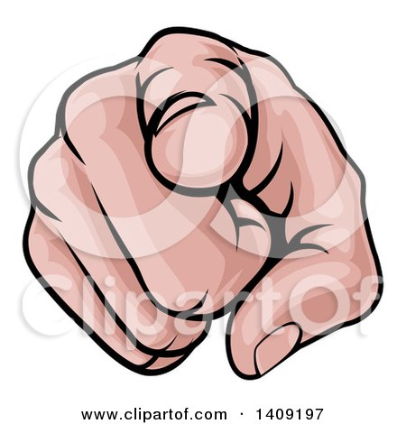 Clipart of a Cartoon Caucasian Hand Pointing Outwards - Royalty Free Vector Illustration by AtStockIllustration