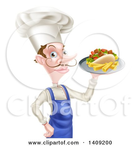 Clipart of a White Male Chef with a Curling Mustache, Holding a Souvlaki Kebab Sandwich on a Tray - Royalty Free Vector Illustration by AtStockIllustration