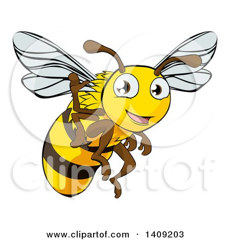 Clipart of a Happy Cartoon Bee Flying and Waving - Royalty Free Vector Illustration by AtStockIllustration