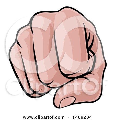 Clipart of a Cartoon Caucasian Fist Punching - Royalty Free Vector Illustration by AtStockIllustration