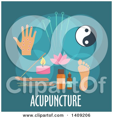 Clipart of a Flag Design Acupuncture Graphic with Icons and Text on Teal - Royalty Free Vector Illustration by Vector Tradition SM