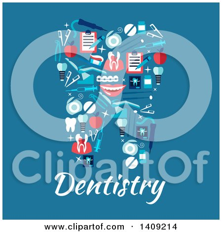Clipart of a Flat Design Tooth Formed of Icons over Dentistry Text on Blue - Royalty Free Vector Illustration by Vector Tradition SM