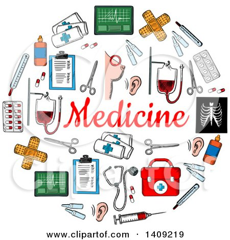 Clipart of a Sketched Circle Formed of Medical Icons, with Text - Royalty Free Vector Illustration by Vector Tradition SM