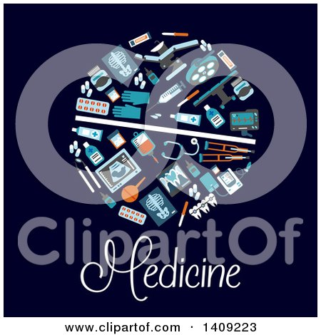 Clipart of a Pill Formed of Medical and Dental Icons, with Text on Dark Blue - Royalty Free Vector Illustration by Vector Tradition SM