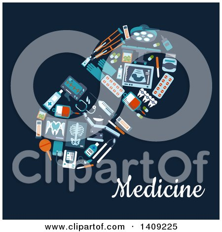Clipart of a Flat Design Pill Formed of Medical Icons, with Text on Blue - Royalty Free Vector Illustration by Vector Tradition SM