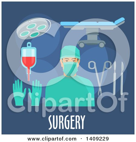 Clipart of a Flag Design Surgery Graphic with Icons and Text on Blue - Royalty Free Vector Illustration by Vector Tradition SM