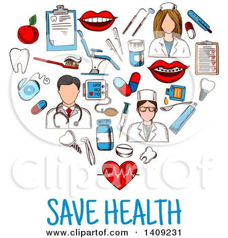 Clipart of a Sketched Heart Formed of Dental Icons, with Save Health Text - Royalty Free Vector Illustration by Vector Tradition SM