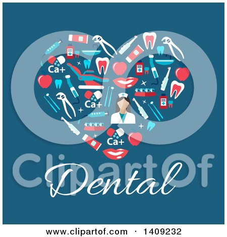 Clipart of a Flat Design Heart Formed of Dental Icons, with Text on Blue - Royalty Free Vector Illustration by Vector Tradition SM