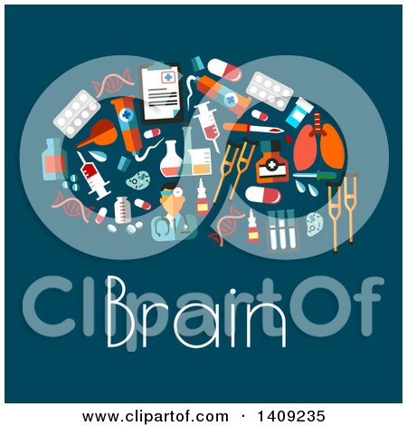 Clipart of a Flat Design Brain Formed of Medical Icons, with Text on Blue - Royalty Free Vector Illustration by Vector Tradition SM