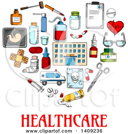 Clipart of a Sketched Heart Formed of Medical Icons, with Text on Blue - Royalty Free Vector Illustration by Vector Tradition SM