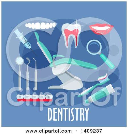 Clipart of a Flag Design Dentistry Graphic with Icons and Text on Blue - Royalty Free Vector Illustration by Vector Tradition SM