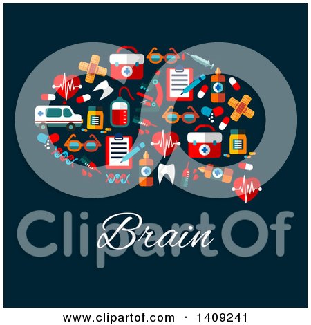 Clipart of a Flat Design Brain Formed of Icons, with Text on Blue - Royalty Free Vector Illustration by Vector Tradition SM